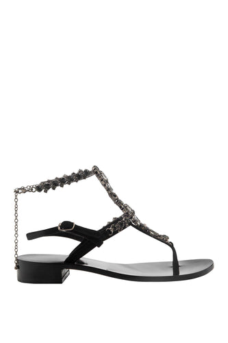 Crystal Ankle Strap Thong Sandals - Black