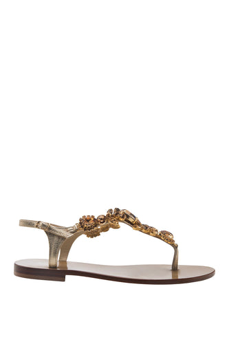 Ivory Crystal Thong Sandals