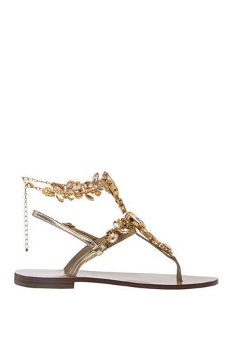 Crystal Ankle Strap Thong Sandals - Gold