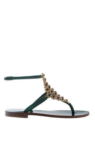 Crystal T Strap Thong Sandals - Green