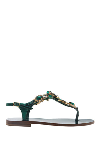 Crystal Thong Sandals - Green