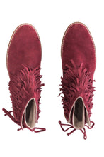 Load image into Gallery viewer, Fringe Ankle Boots - Burgundy
