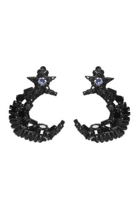Black Star Moon Earrings