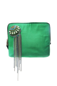 Green Crystal Fringe Medusa Clutch