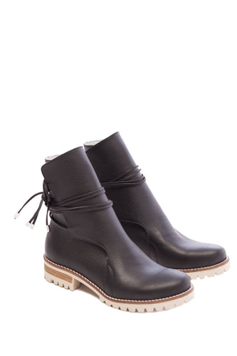 Ankle Tie Boots - Black