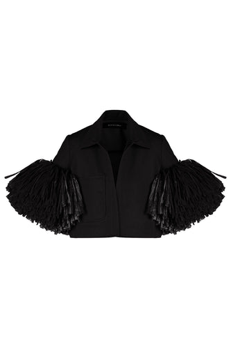 Jacket With Raffia Sleeves - Black