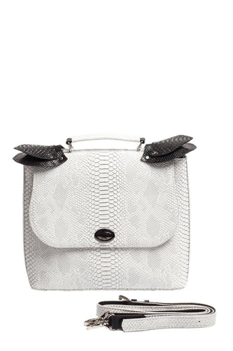 Snake Pattern Top Handle Shoulder Bag - White