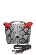 Load image into Gallery viewer, Snake Pattern Top Handle Shoulder Bag — Light Gray
