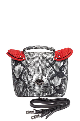Snake Pattern Top Handle Shoulder Bag — Light Gray