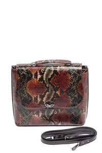 Snake Pattern Top Handle Shoulder Bag — Olive/Rust