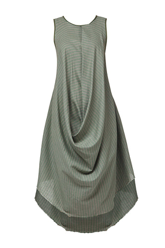 Pinstripe Draped Dress