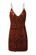 Load image into Gallery viewer, Leopard Sequin Slip Dress