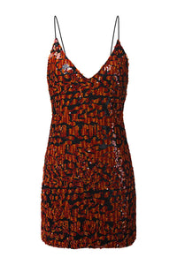 Leopard Sequin Slip Dress