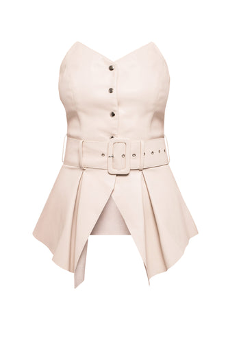 Eco Leather Bustier - Ivory