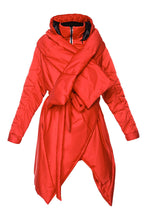 Load image into Gallery viewer, Sculpted Scarf Puffer Coat - Red