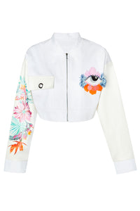 Embroidered Painted Crop Jacket
