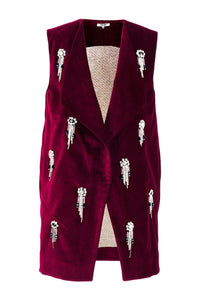Velvet Embroidered Crystal Vest