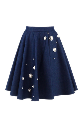 Denim/Crystal Flared Skirt