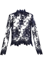 Load image into Gallery viewer, Navy Lace Blouse