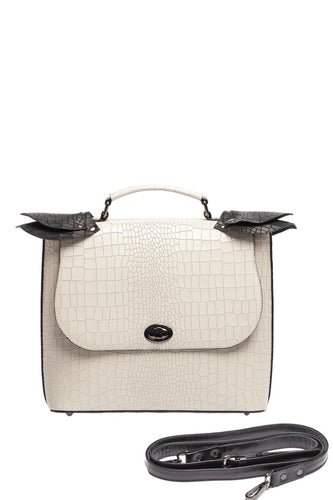 Croco Pattern Top Handle Shoulder Bag
