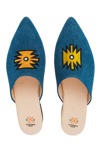 Denim Aztec Mules