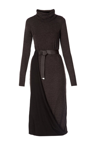 Cowl Neck Asymmetric Sheath Dress