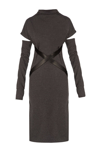 X Belt Sheath Dress - Grey
