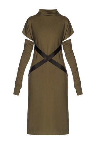 X Belt Sheath Dress - Olive