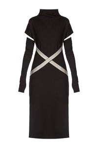 X Belt Sheath Dress - Black