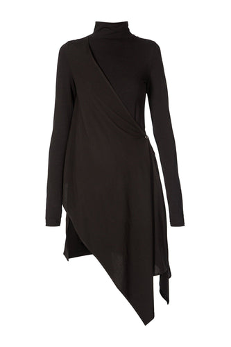 Sculpted Turtleneck Dress - Black