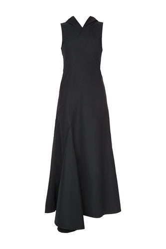 Seamed Hooded Dress - Black
