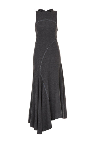Seamed Hooded Dress - Charcoal