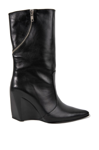 Zipper Wedge Heel Boots