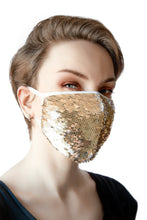 Load image into Gallery viewer, Face Mask - Gold Sequins (Filter Pocket)