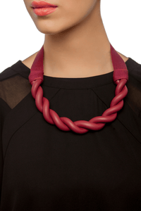 Plait Black Ribbon Necklace