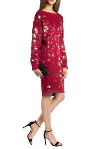 Bird Print Sweatshirt Dress - Red