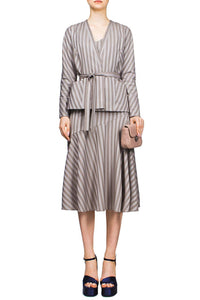 Striped Wrap Jacket Skirt Suit
