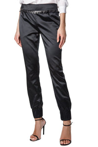 Cuffed Tailored Satin Trousers