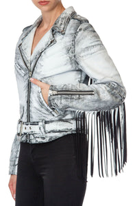 Fringed Motorcycle Jacket - White