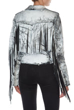 Load image into Gallery viewer, Fringed Motorcycle Jacket - White