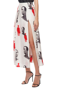 Mannequin Print Long Slit Skirt