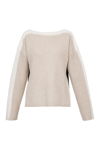Bicolor Ribbed Boatneck Sweater - Oatmeal