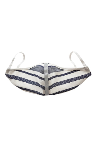 Fashion Face Mask - Denim Stripe with Trim