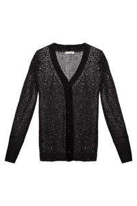 Sheer Knit Cardigan - Black