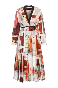 Retro Print Wrap Dress