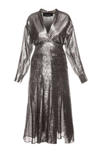 Load image into Gallery viewer, Silver Lame Wrap Dress