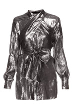 Load image into Gallery viewer, Silver Lame Wrap Tops