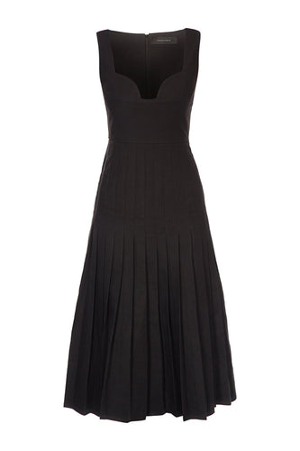 Sweetheart Neck Pleated Dress