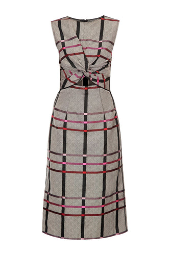 Plaid Drape Front Dress