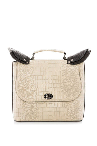Croc Pattern Top Handle Bag - Ivory